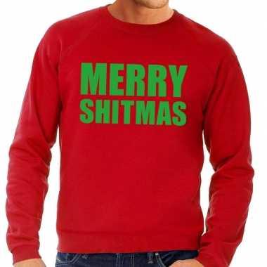 Foute kersttrui rood merry shitmas heren