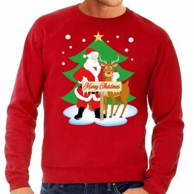 Foute kersttrui rood met de kerstman en rudolf voor heren