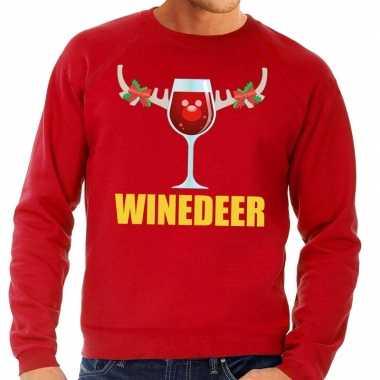 Foute kersttrui rood met wijntje heren