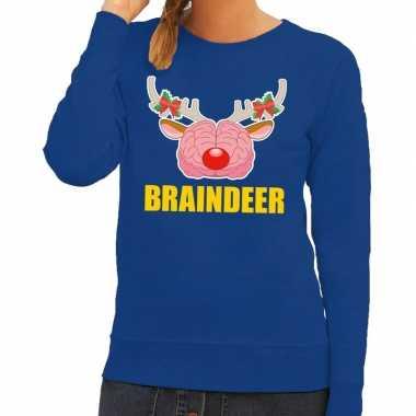 Foute kersttrui / sweater braindeer blauw voor dames