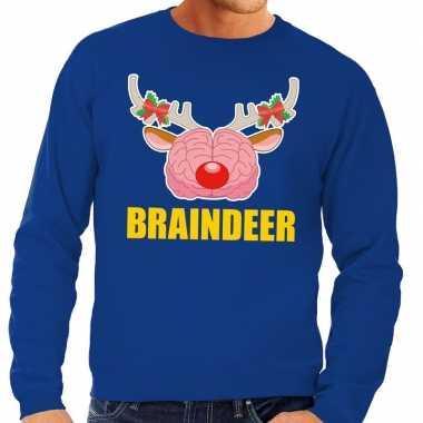 Foute kersttrui / sweater braindeer blauw voor heren