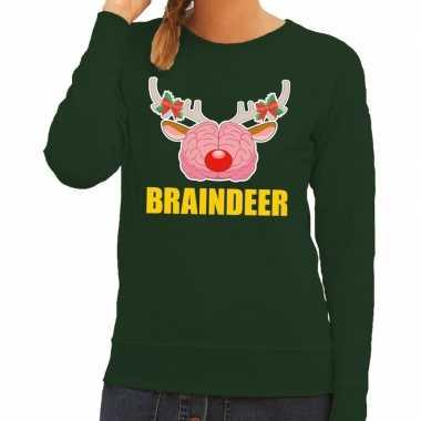 Foute kersttrui / sweater braindeer groen voor dames