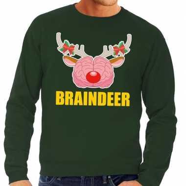 Foute kersttrui / sweater braindeer groen voor heren