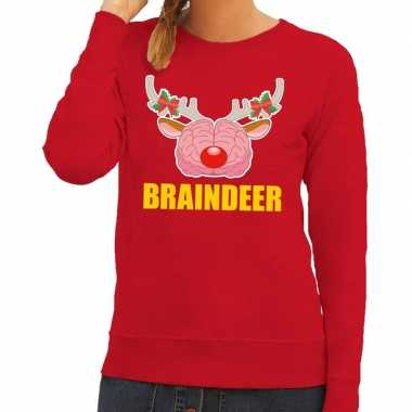 Foute kersttrui / sweater braindeer rood voor dames