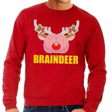 Foute kersttrui / sweater braindeer rood voor heren