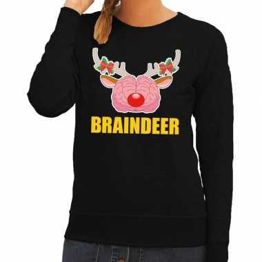 Foute kersttrui / sweater braindeer zwart voor dames