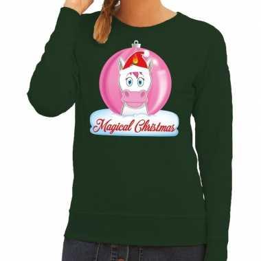 Foute kersttrui / sweater eenhoorn magical christmas groen voor dames