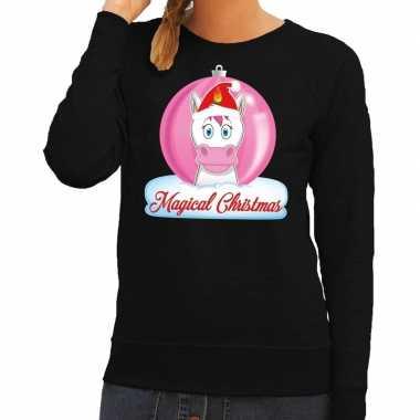 Foute kersttrui / sweater eenhoorn magical christmas zwart voor dames