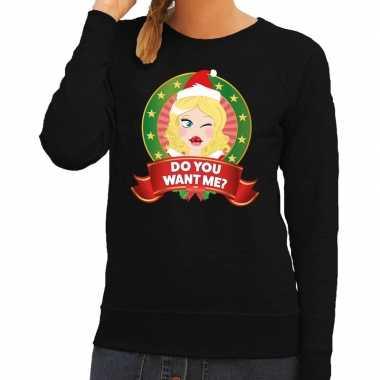 Foute kersttrui zwart do you want me voor dames