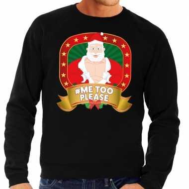 Foute kersttrui zwart horny kerstman me2 please heren
