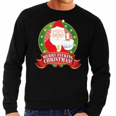 Foute kersttrui zwart kerstman met middelvinger merry fucking christm
