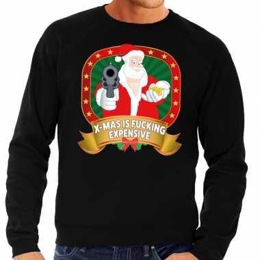 Foute kersttrui zwart kerstman met pistool heren