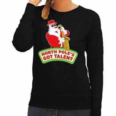 Foute kersttrui zwart kerstman met saxofoon dames