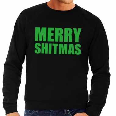 Foute kersttrui zwart merry shitmas heren