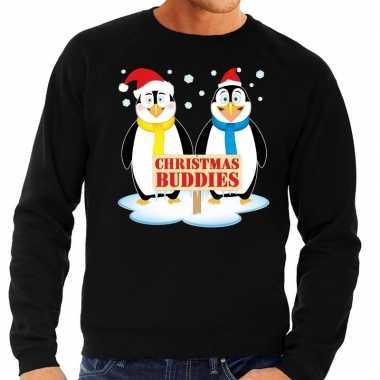 Foute kersttrui zwart met 2 pinguins voor heren