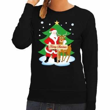 Foute kersttrui zwart met de kerstman en rudolf voor dames
