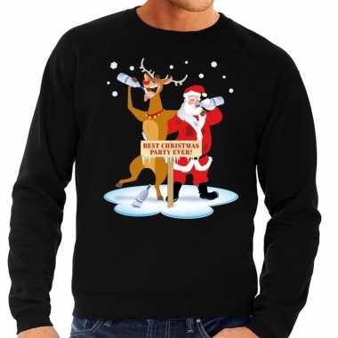 Foute kersttrui zwart met een dronken kerstman en rudolf voor heren