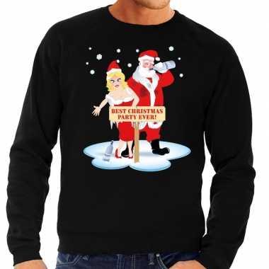 Foute kersttrui zwart met een dronken kerstman en zijn vrouw voor her