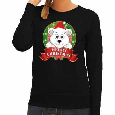 Foute kersttrui zwart met ijsbeertje voor dames