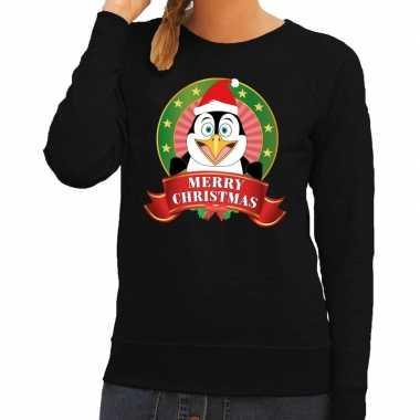 Foute kersttrui zwart met pinguin voor dames
