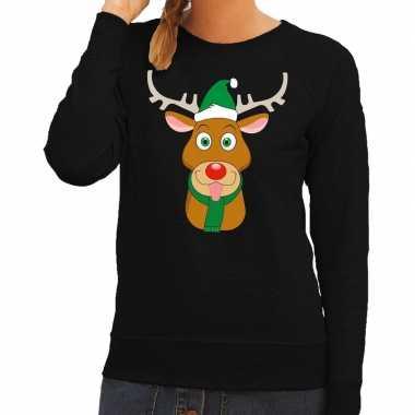 Foute kersttrui zwart met ruldolf het rendier met groene muts voor da