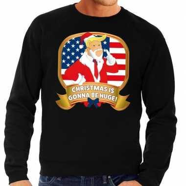 Foute kersttrui zwart met trump christmas is gonna be huge heren