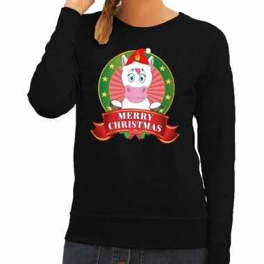 Foute kersttrui zwart met unicorn voor dames