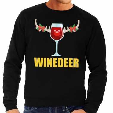 Foute kersttrui zwart met wijntje heren