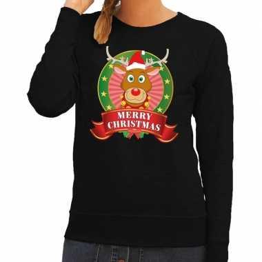 Foute kersttrui zwart rudolf het rendier voor dames