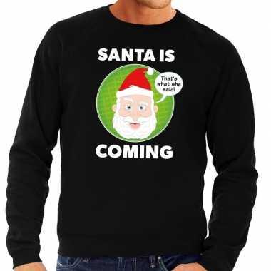 Foute kersttrui zwart santa is coming voor heren