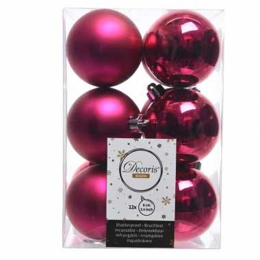 Fuchsia kerstballen van kunststof 6 cm