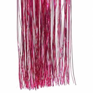Fuchsia roze kerstboom versiering lametta slierten