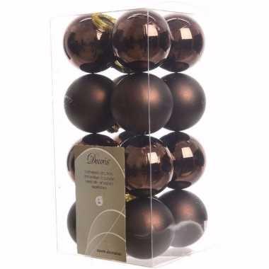 Glamour christmas kerstboom decoratie kerstballen bruin 16 stuks