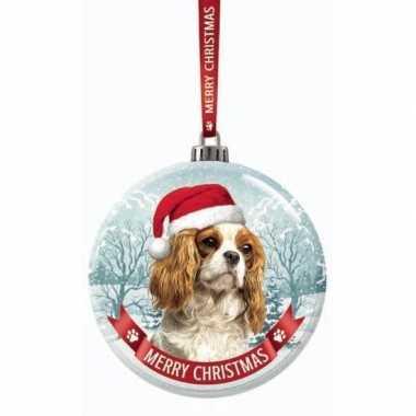 Glazen kerstbal hond cavalier king charles spaniel 7 cm