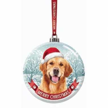 Glazen kerstbal hond golden retriever 7 cm