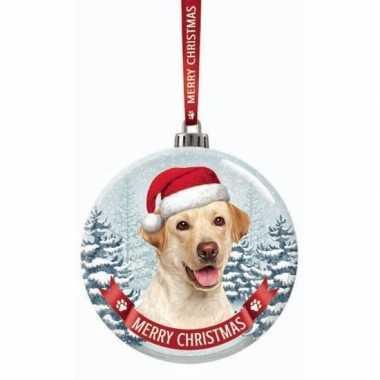 Glazen kerstbal hond labrador blond 7 cm