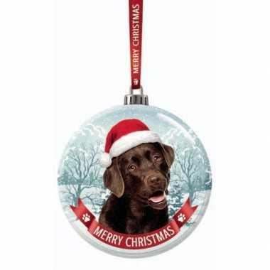 Glazen kerstbal hond labrador bruin 7 cm
