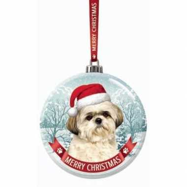 Glazen kerstbal hond shih tzu 7 cm