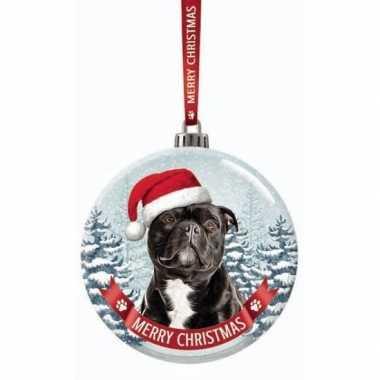 Glazen kerstbal hond staffordshire bull terrier 7 cm