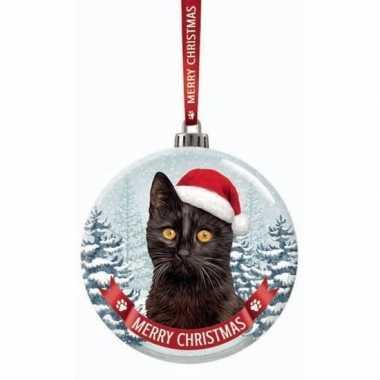 Glazen kerstbal kat/poes zwart 7 cm