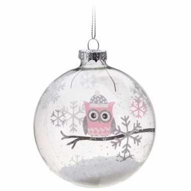 Glazen kerstbal met 1 uiltje roze