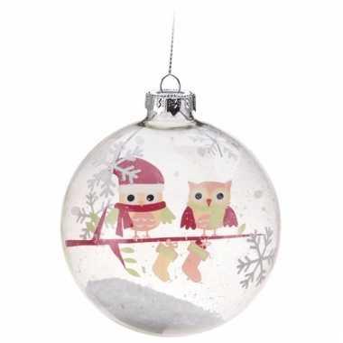 Glazen Kerstbal Met 2 Uiltjes Roze Kerst Man Nl