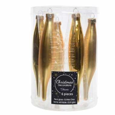 Glazen kerstballen pegels goud 15 cm