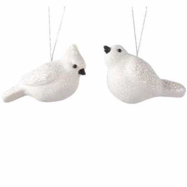 Glitter vogeltjes wit kerstornamenten kersthangers 11 cm