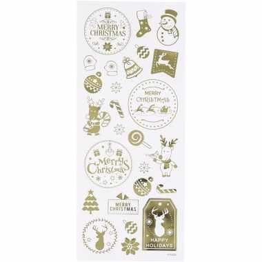 Gouden kerst stickers 26 stuks