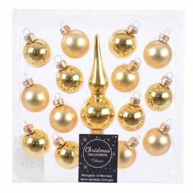 Gouden kerstballen en piek set voor mini kerstboom