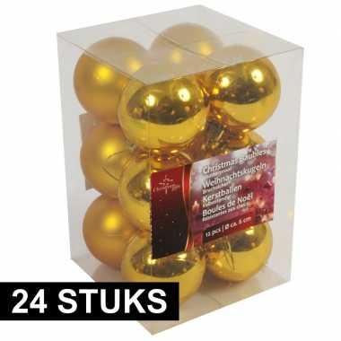 Gouden kerstballen onbreekbaar 24x stuks 6 cm
