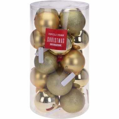 Gouden kerstballen set 12 cm