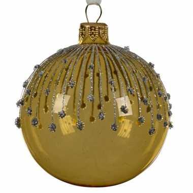 Gouden kerstballen transparant 8 cm