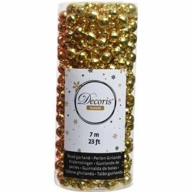 Gouden kerstboom kralenketting 700 cm discoballen